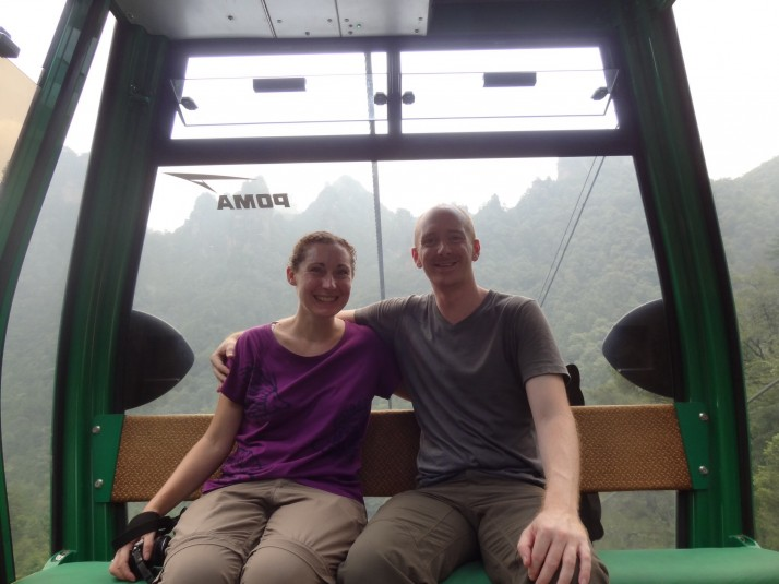 Us in Huangshizhai cable car