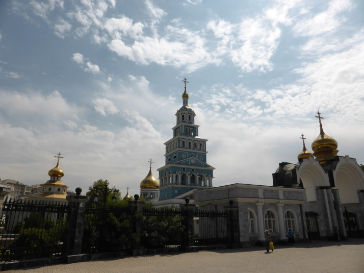 The Assumption Cathedral in Tashkent reminded us of the many Orthodox churches and cathedrals we visited in Russia