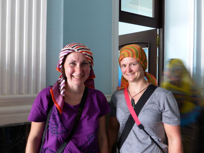 Julie and Jo in borrowed headscarves