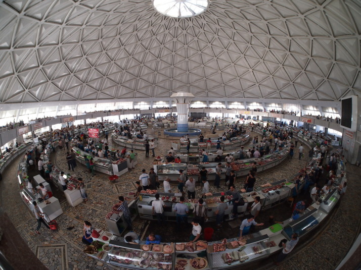 Inside the cool Chorsu dome are the various meat counters set out in concentric rings