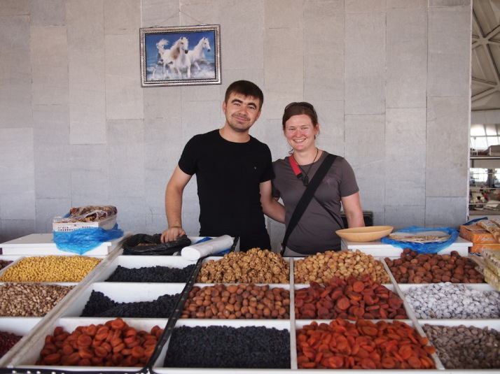 In a quiet corner of the bazaar, our good friend Jo (whom you might remember joined us in Vietnam last year) was roped into a photo while buying some dried apricots