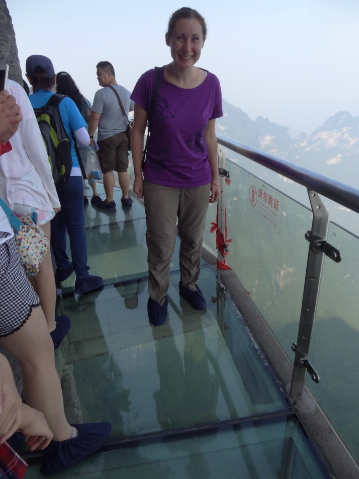 Fearless Julie on the glass walkway
