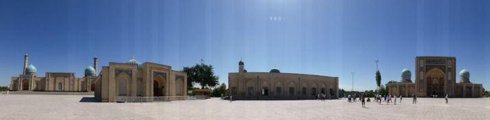 Khast Imom Square. From left (east) to right (west, through south): Hazroti Imom Friday Mosque; Moyie Mubarek Library Museum; Telyashayakh Mosque; Barak Khan Medressa