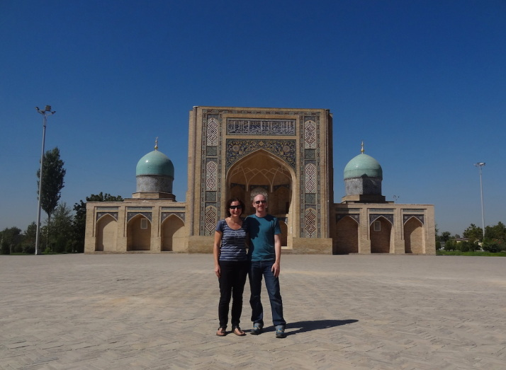 Julie and I in front of the Barak Khan Medressa