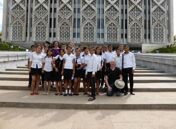 Mobbed by a class of school kids as we made our way into the History Museum of the People of Uzbekistan