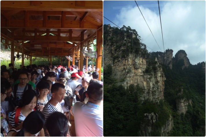 Tianzi Mountain cablecar queue and journey