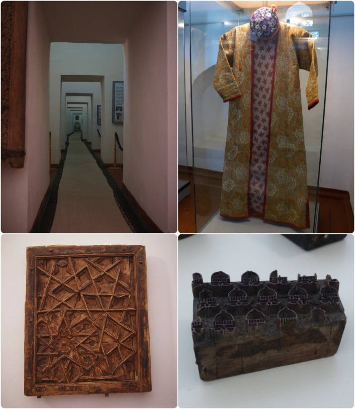 A taste of the variety on display in the Museum of Applied Arts. Clockwise from top-left: Walking through the walls of the medressa; Parcha robes for women (20th century); Stamps (21st century); A part of the ceiling from the Arabkhan mosque (17th century)
