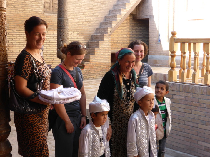 Jo and Julie roped into a family photograph. This happened to us all quite a bit in Uzbekistan