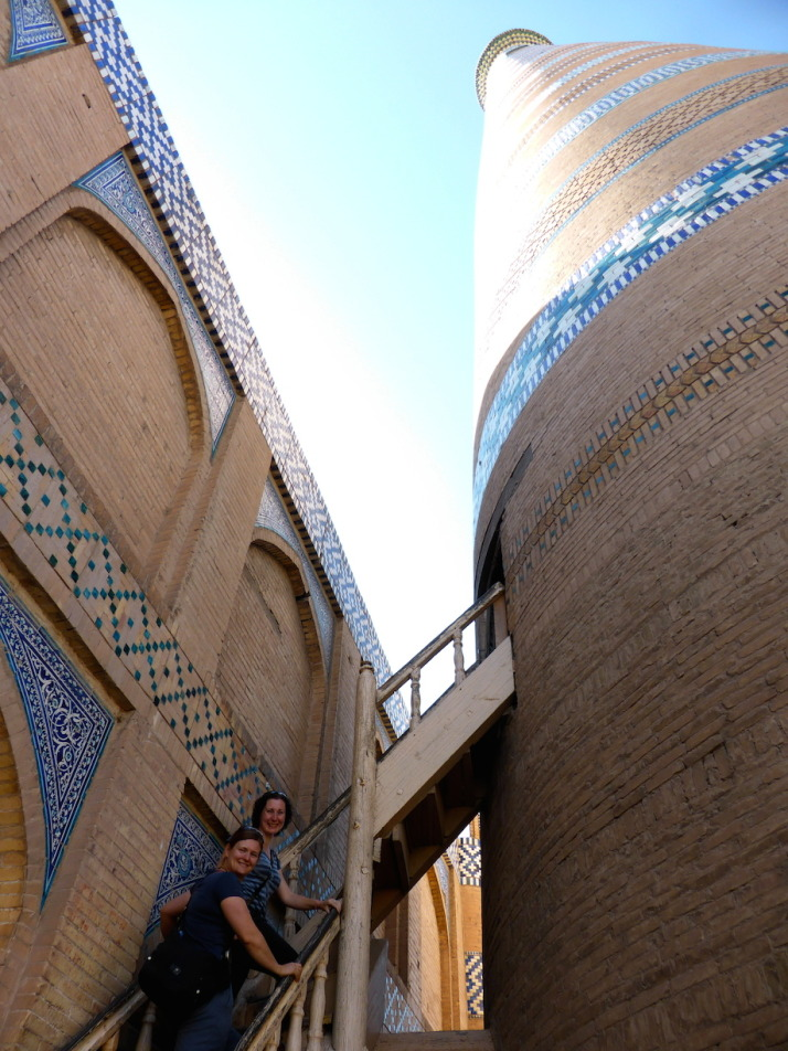 Jo and Julie starting to climb the Islom-Hoja Minaret - Khiva's newest (built in 1910) and Uzbekistan's highest at 57m
