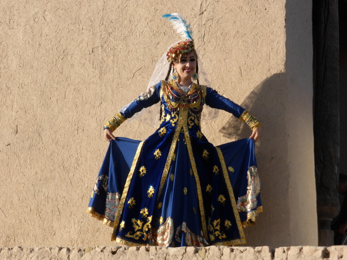 Dancer posing for us in-between shooting a music video in Khiva, Uzbekistan