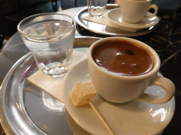Our first proper Turkish coffee in Istanbul. How do you know by looking at it? It's the lokum or Turkish Delight on the side of course!