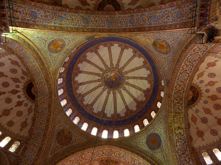 The main dome is decorated with stunning blue and gold painting