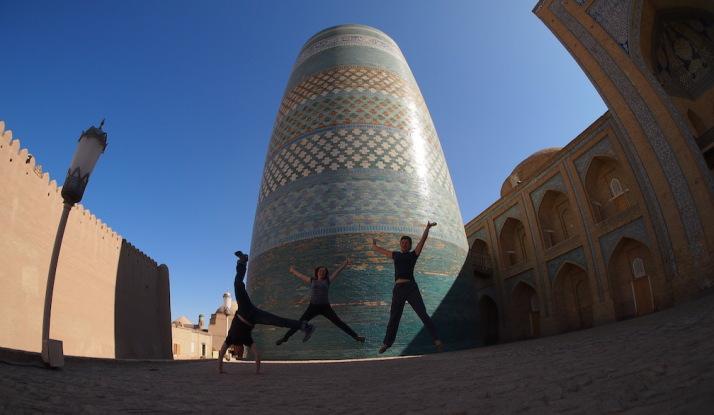 Silly poses with the Kalta Minor Minaret, Khiva