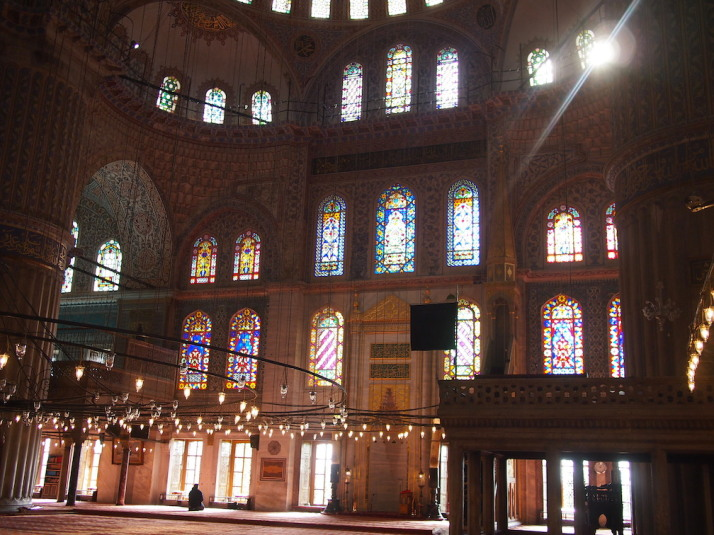 Inside the Sultan Ahmet Camii or Blue Mosque. The colours, light and shapes are almost too much for the senses!