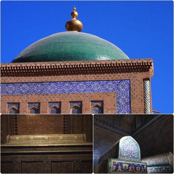 Inside Pahlavon Mahmud's mausoleum. Clockwise from top: The main dome (which needs a little seeing-to with a duster); Unmarked tombs of other khas to the west of the main hall; Pahlavon Mahmud's wonderfully tiled sarcophagus and tomb