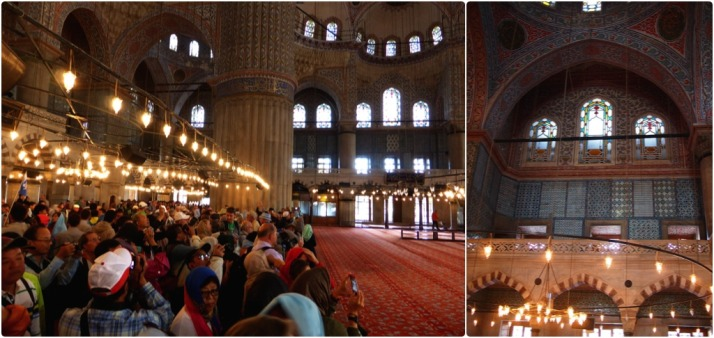 Inside the Blue Mosque: the barriers separate the tourists from the worshippers as this is very much a working mosque