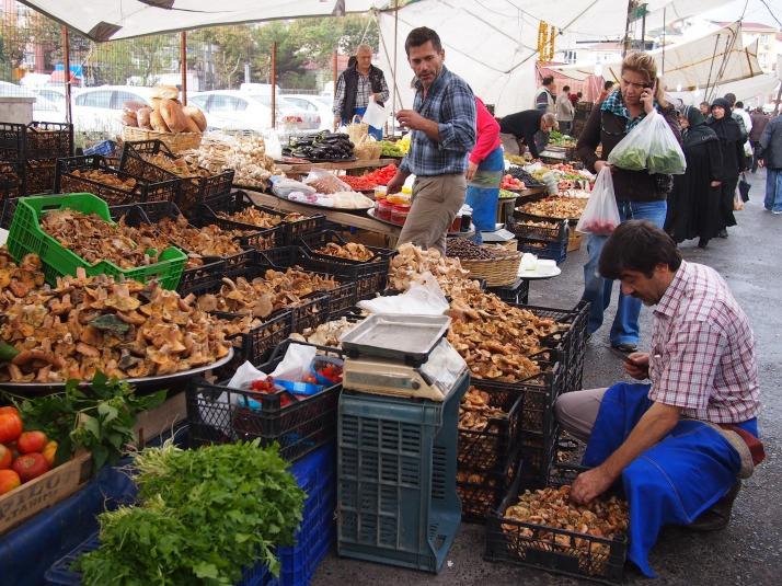 Mushroom stall at Inebolu Market