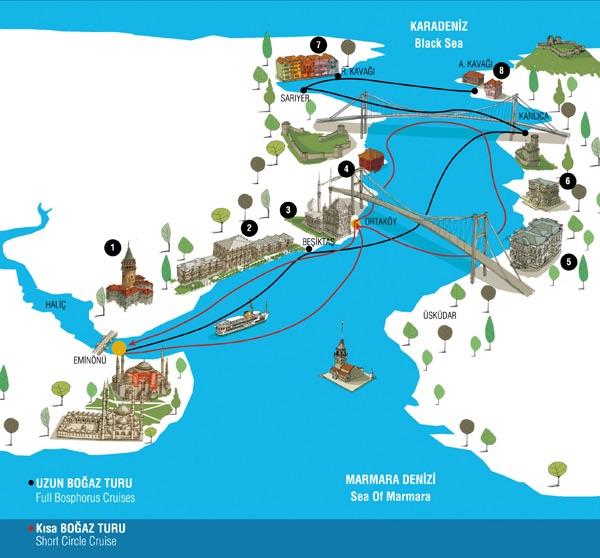 Bosphorus cruise route map