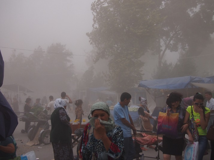 Dust storm in Fergana Bazaar