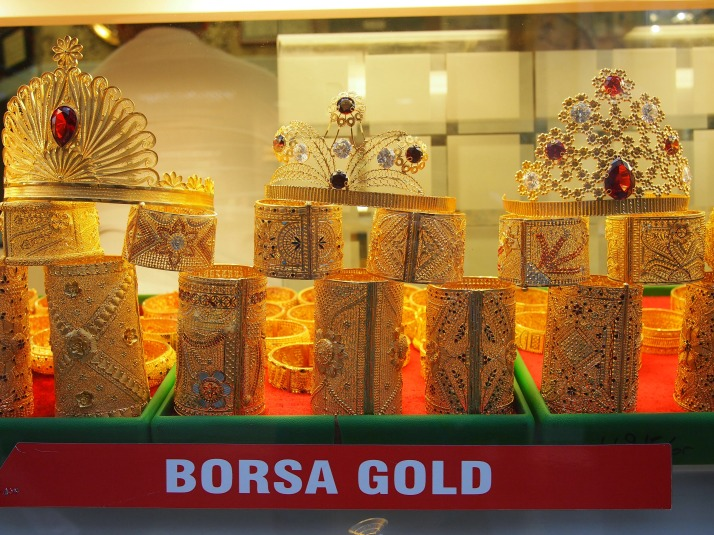 Gold shop window display