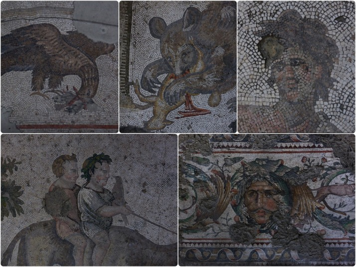 Collage of mosaics from the Great Palace Mosaic Museum, Istanbul
