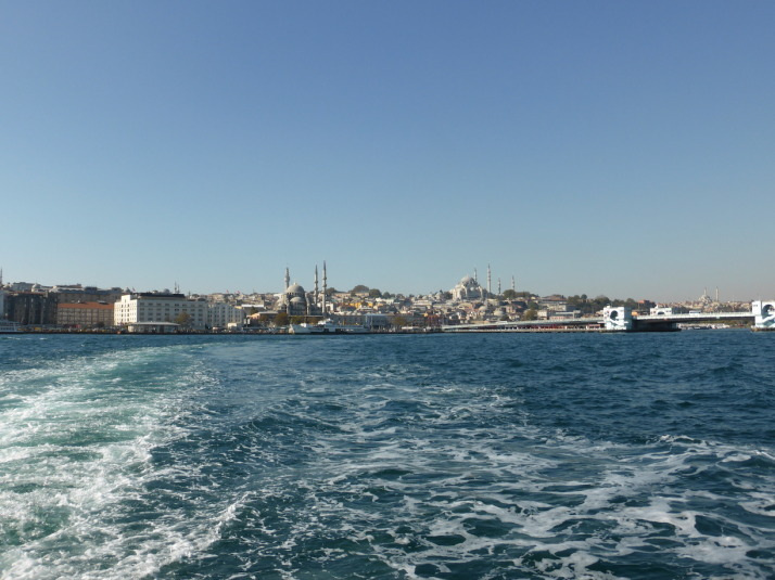 Approaching the busy ferry port of Eminönü in Istanbul - the start of our self-guided food tour