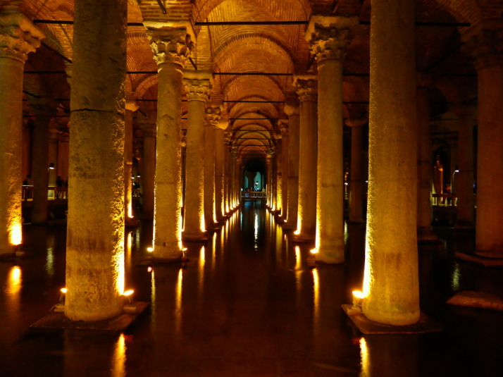 The Basilica Cistern, 9,800m<sup>2</sup> in size, can hold 80,000 cubic metres (2,800,000 cu ft) of water, and was forgotten for nearly a hundred years!