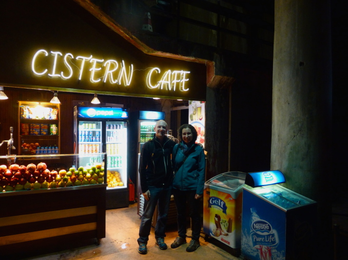 Us at the Cistern Cafe in the Basilica Cistern. We didn't buy anything but the coffee smelled good