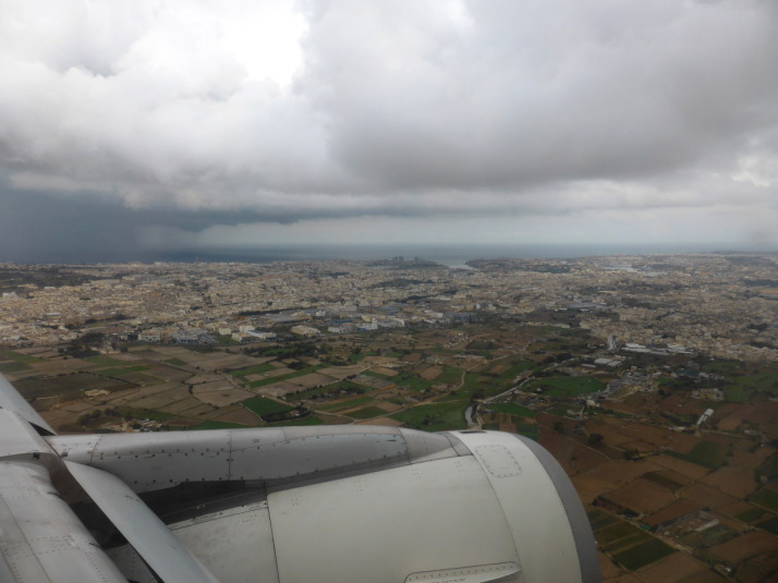 A wet welcome to Malta, from here it's easy to imagine this was part of the United Kingdom!