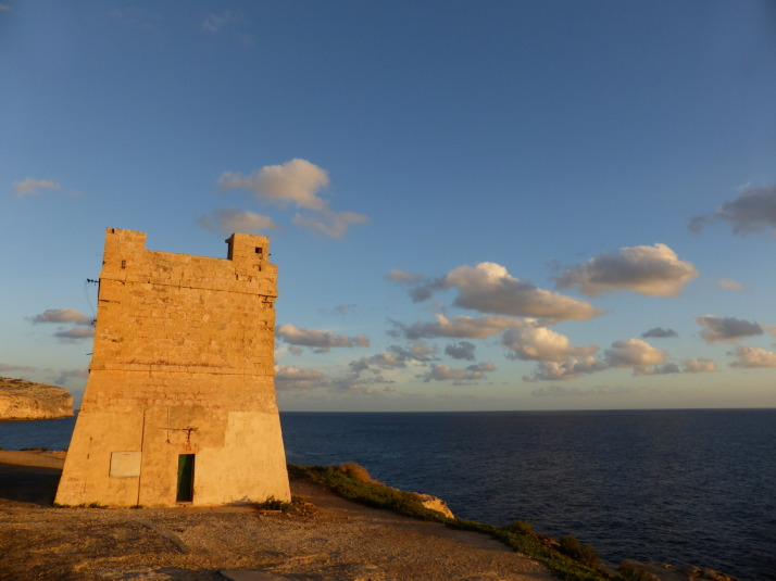 The sun sets on our first day of strolling through the countryside and history of the tiny island of Malta