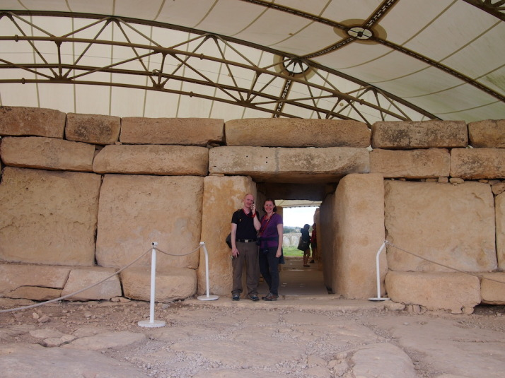 Us at the entrance to Hagar Qim, the 5,000 year-old monolithic temples. I'm listening to the audioguide which poses more questions about the site and its purpose than it answers