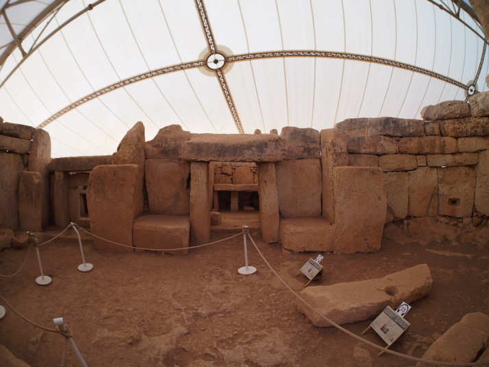 Inside the first chamber of Mnajdra's South Temple - during the equinoxes and solstices the sunrise hits the blocks either side of this doorway, again reminding us of Stonehenge. Wow!