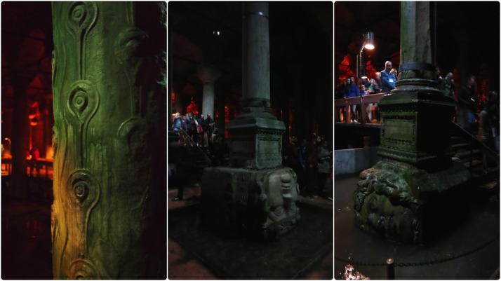 Column details in the Basilica Cistern, from left to right: Supporting column originally from the triumphal arch in the Forum of Theodosius I; The Medusa head Gorgon base which is inverted because it is said to negate the power of the gaze; The second Medusa base, this one rotated which also counts as a negating strategy