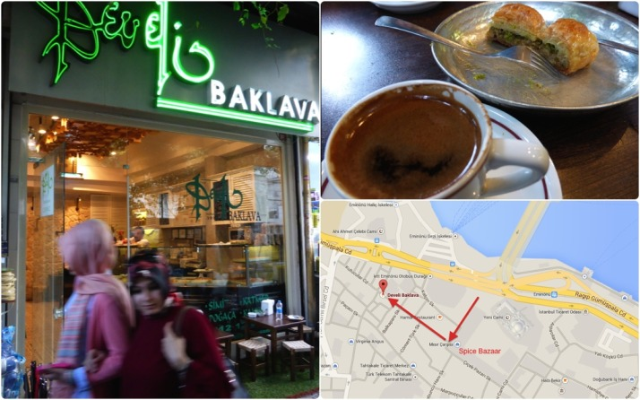First stop - coffee and pastry at the tiny Develi Baklava. Click for a map