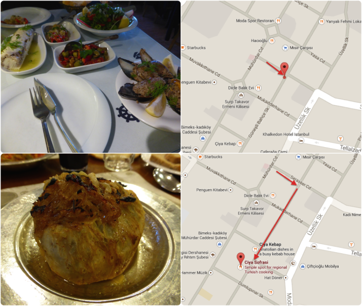 Your choice for dinner - fantastic fresh fish dishes at Kadi Nimet Balikçilik (top); and remarkable regional specialities at Çiya Sofrasi (bottom). Both feature in the Lonely Planet  Click for a map