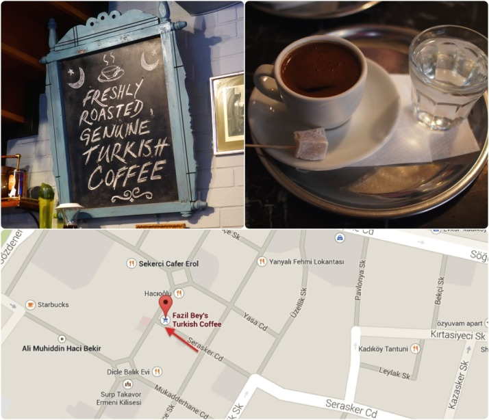 Turkish coffee at its finest served at Fazil Bey. How do you know it's Turkish coffee?  The lokum gives it away..  Click for a map
