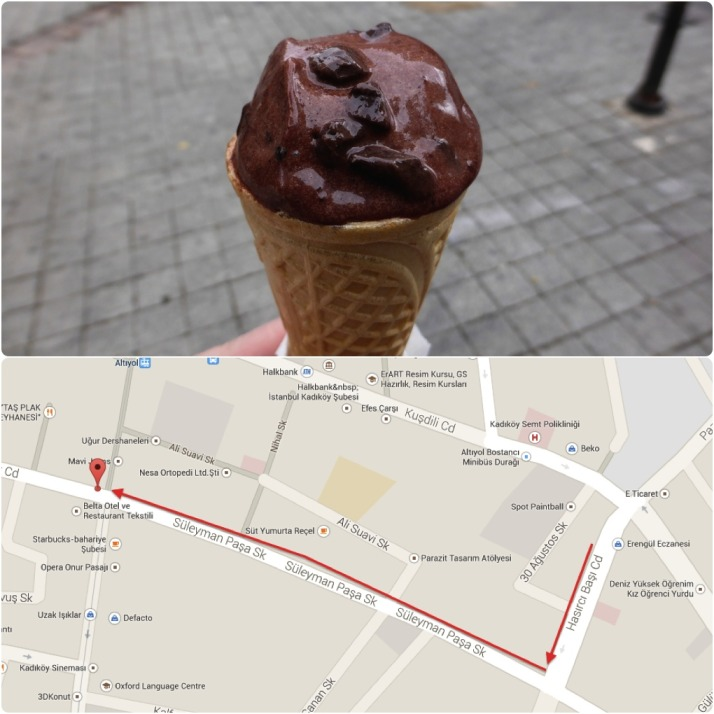 Amazing Turkish chocolate ice cream. Save yourself the walk back and just order two scoops the first time..  Click for a map