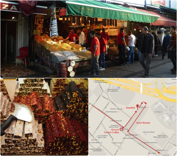 Time to graze on nuts, dried fruit, spices and Turkish delight in the ever-busy Spice Bazaar. Click for a map