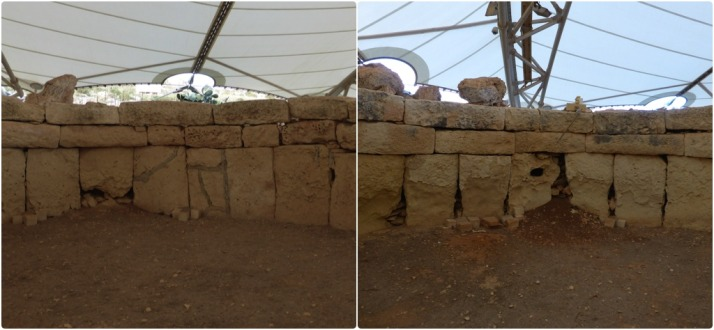 The north facing wall (left) of the Central Temple is in relatively good condition, but the lower south facing stones (right) of the same room have almost completely eroded. Most surprisingly for me was that the heat of the midday sun has done the most damage