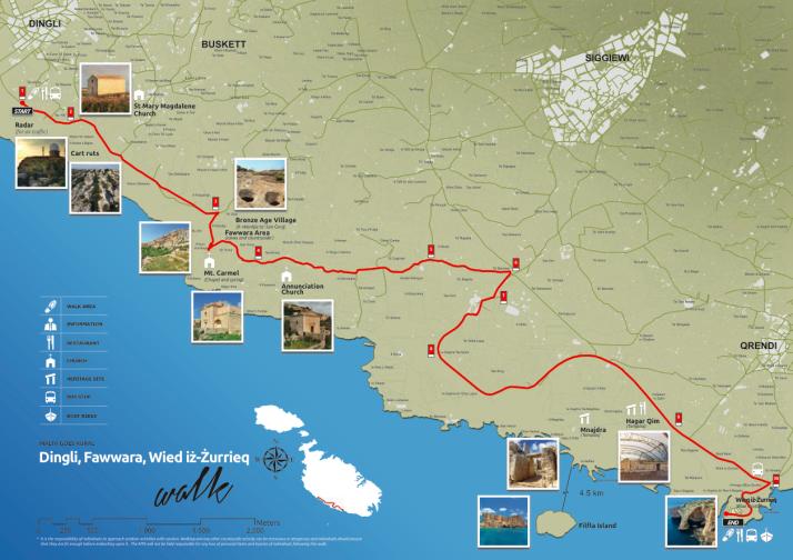 Dingli - Fawwara - Wied iż-Żurrieq walk map, Malta