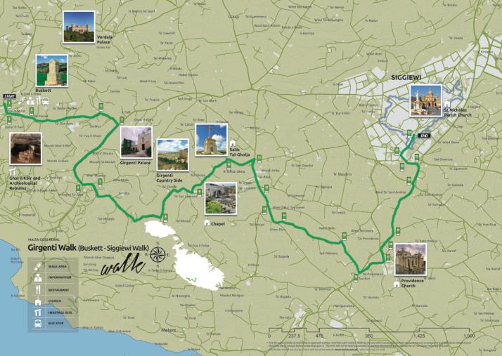 Girgenti Walk map, Malta