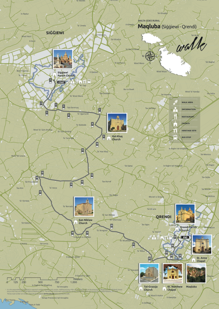 Maqluba Walk map, Malta