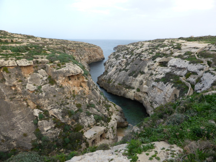 Wied il-Ghasri, a deep valley used by pirates and smugglers of the Mediterranean, so much so that they built a shaft into the side of the cliff to lower supplies and raise booty!