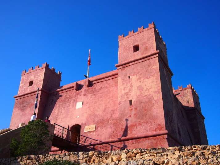 St Agatha's Tower - otherwise known as the Red Tower, dominates the northern peninsula of Malta and is the final stop of the walk