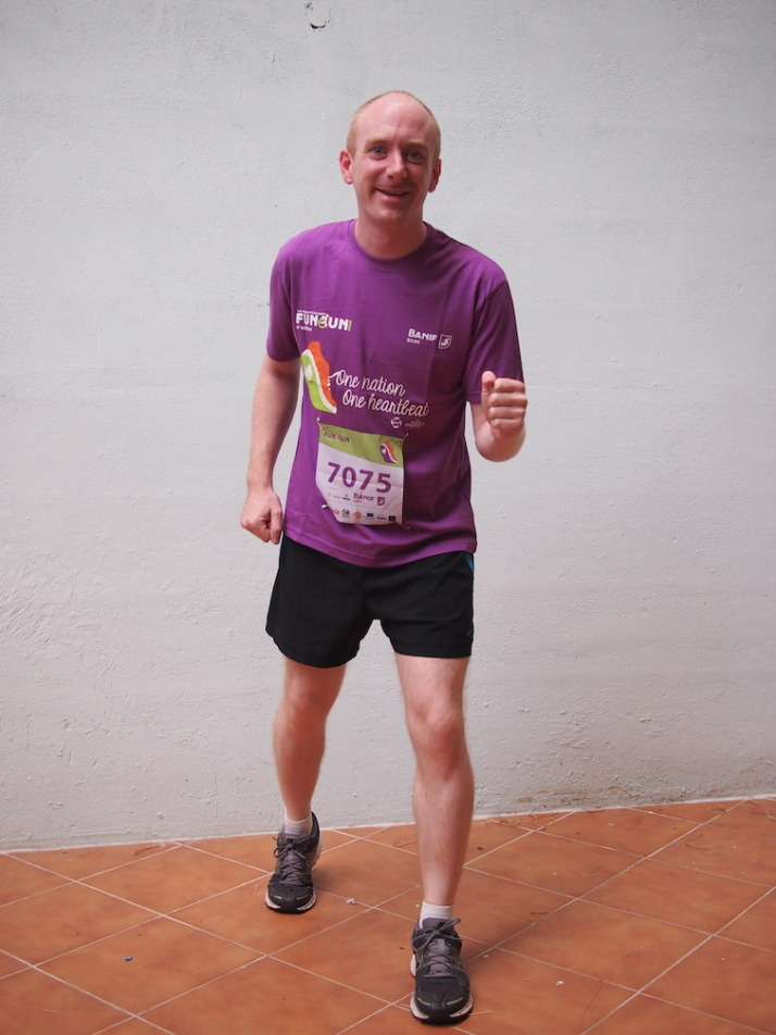 Kitted out in the official t-shirt and about to set off to the start of the 2014 Malta Fun Run