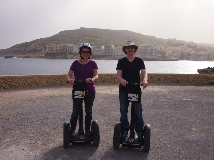 Us on Segways having just passed our Compulsory Basic Training, which consists of an emergency stop, hill start and smiling from ear to ear