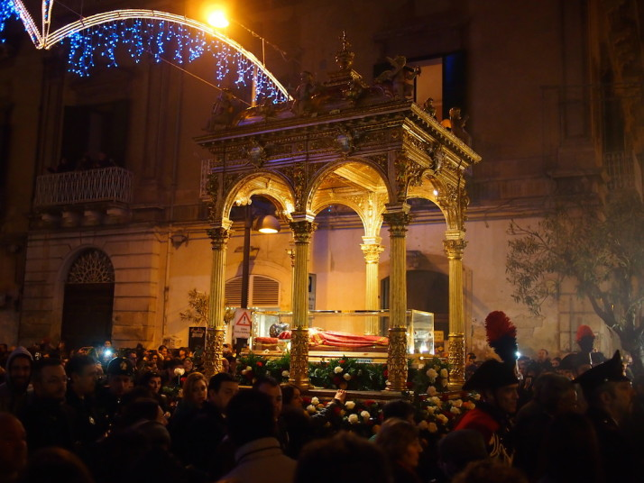 The relics of Santa Lucia in the parade, Siracusa, Sicily