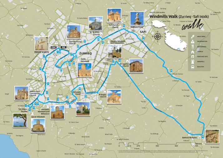 Windmills Walk map, Malta