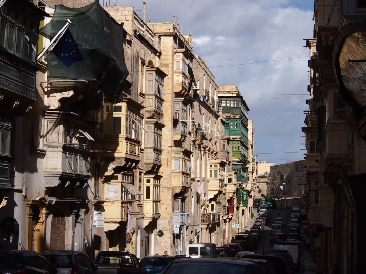 Wooden balconies in Valletta