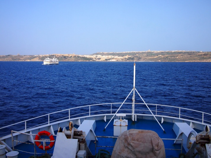 Approaching Gozo by ferry